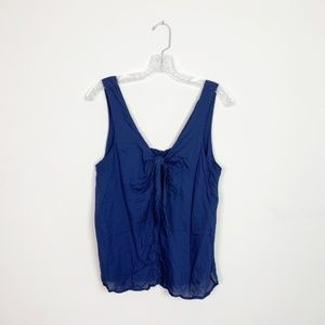 Anthropologie | bow front tank top blouse blue M